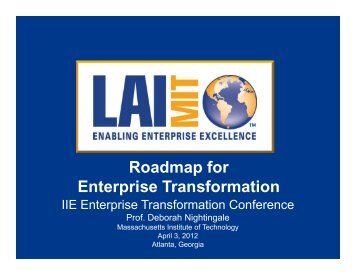 Roadmap for Enterprise Transformation - Institute of Industrial ...