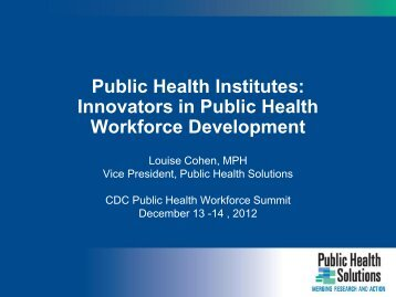 Innovators in Public Health Workforce Development - National ...