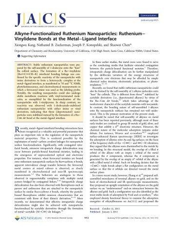 Alkyne-Functionalized Ruthenium Nanoparticles - American ...
