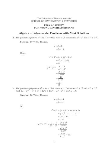 Algebra – Polynomials: Problems with Most Solutions
