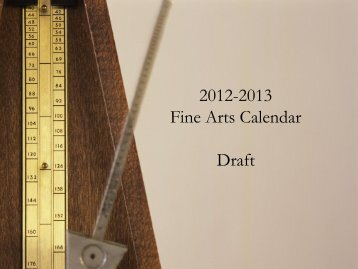 Fine Arts Calendar 2012/2013 - Boyertown Area School District