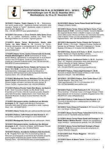 MANIFESTAZIONI DAL 14 AL 23 DICEMBRE 2012 ... - Hotel Petrarca