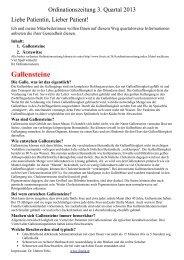 Ordinationszeitung 3. Quartal 2013 (Gallensteine) - Dr. Hubert Fröis