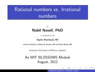 Rational numbers vs. Irrational numbers - mit blossoms