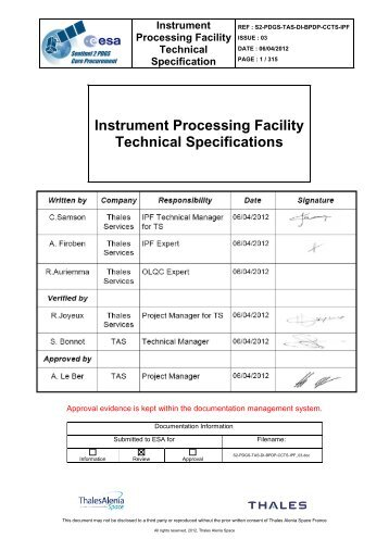 Instrument Processing Facility Technical Specifications - emits - ESA