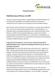 Stabilisierung auf Niveau von 2007 - AGRAVIS Technik BvL GmbH