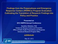 Findings from the Preparedness and Emergency Response Centers ...