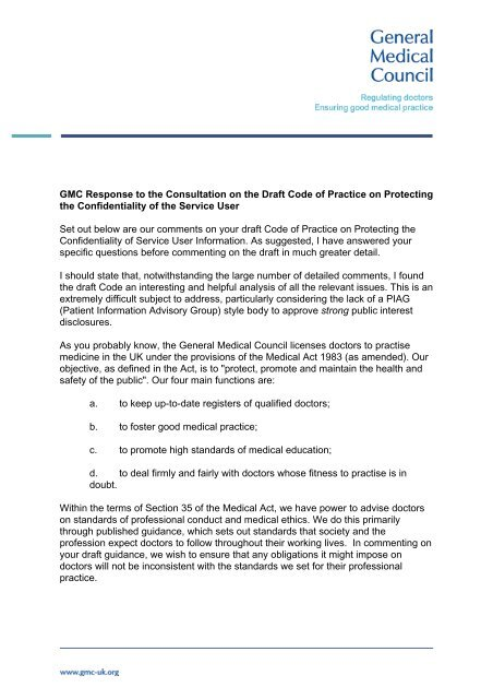 Gmc Response To Consultation On The Draft Code General Medical