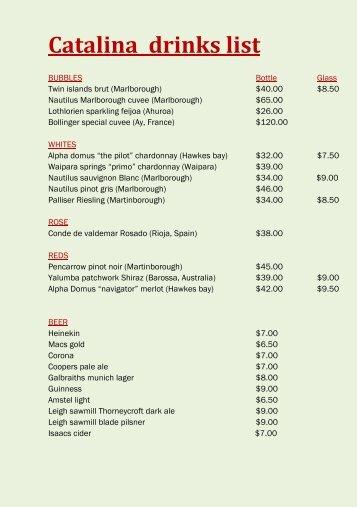 drinks list (PDF)