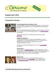 Ausgabe April 2010 - Geniushof eV - Lebensfreude durch Integration