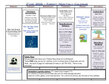 June 2010 - Parent Monthly Calendar - Child Care Resource and ...