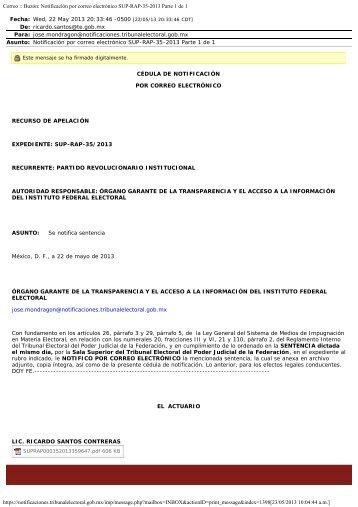 sup-rap-35-2013 notificada el 22 de mayo de 2013 a las 20 horas con
