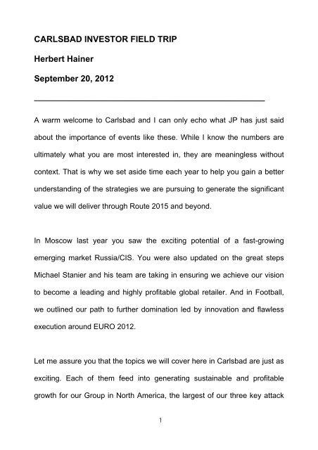 CARLSBAD INVESTOR FIELD TRIP Herbert Hainer     - adidas Group