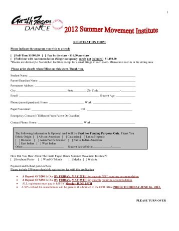 1 REGISTRATION FORM Please indicate the program you wish to ...