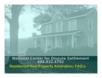 National Center for Dispute Settlement 888.832.4792 Residential ...