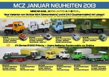 MCZ Januar 2013-Neuheiten - bei Modell-Car-Zenker