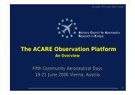 The ACARE Observation Platform - Aeronautics Days 2006