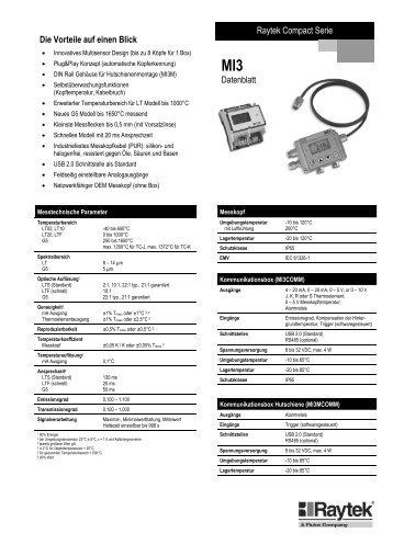 Raytek Compact Serie Die Vorteile auf einen Blick Datenblatt
