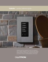 RadioRA®   product reference guide - Striker Electrical Services