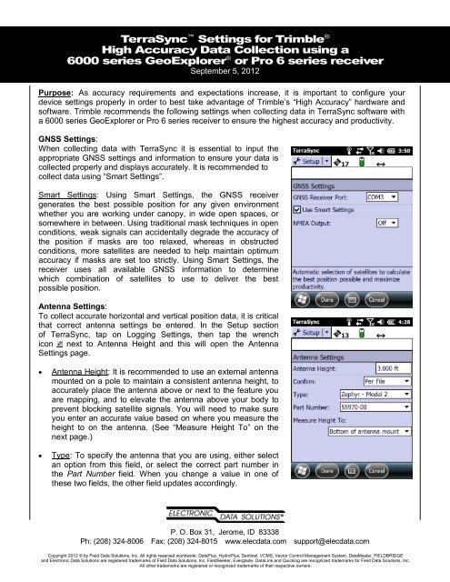TerraSync Settings for High Accuracy Data Collection Sep 2012