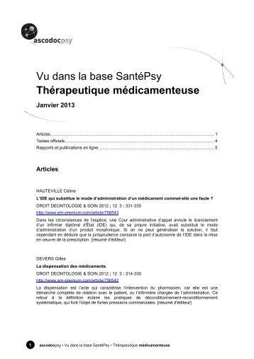 Vu dans la base SantéPsy - Ascodocpsy