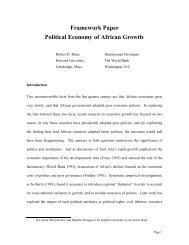 Framework Paper: Political Economy of African Growth - Global ...