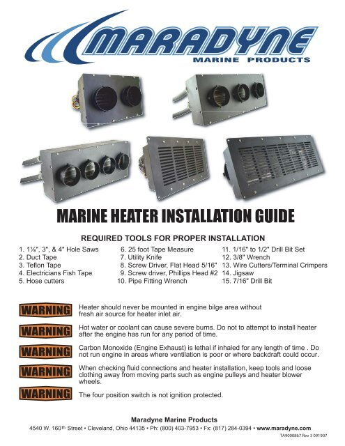 marine heater installation guide - Maradyne