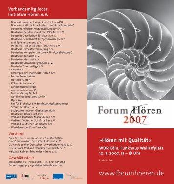 Forum Hören 2007 - Initiative Hören