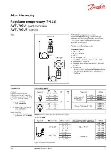 Regulator temperatury (PN 25) AVT / VGU - Danfoss