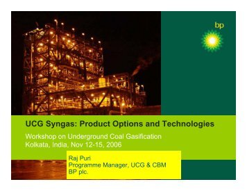 UCG Syngas: Product Options and Technologies - Office of Fossil ...