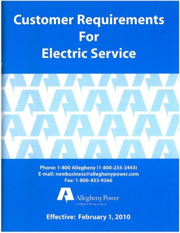 Customer requirements for electric service - FirstEnergy