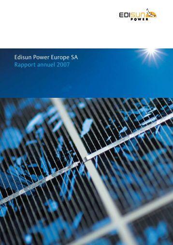 Rapport Annuel 2007 - Edisun Power Europe AG