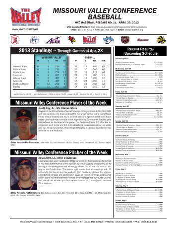 Baseball Weekly Notebook (Apr. 29). - Missouri Valley Conference
