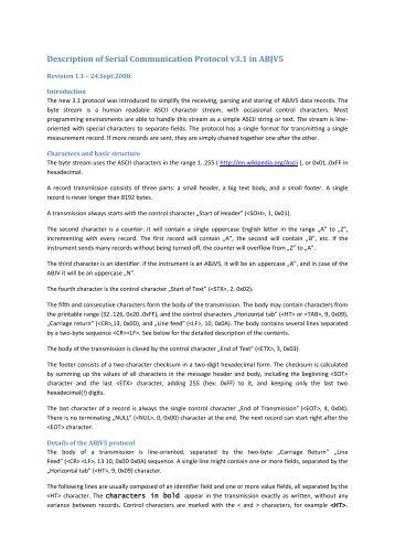 Description of Serial Communication Protocol v3.1 in ABJV5 - Diatron