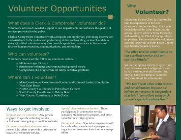 Volunteer Opportunities - Clerk & Comptroller, Palm Beach County