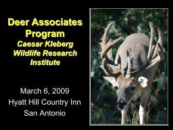Deer Research Program Update - Caesar Kleberg Wildlife Research ...
