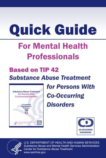 Quick Guide: For Mental Health Professionals-Based on TIP 42 ...