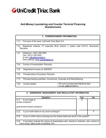 anti money laundering program template - anti money laundering questionnaire unicredit bank