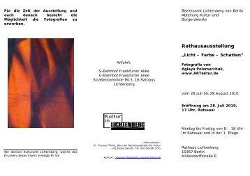Eröffnung am 28. Juli 2010, 17 Uhr, Ratssaal - ARTektur