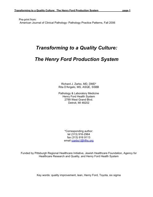 Transforming to a Quality Culture: The Henry Ford Production