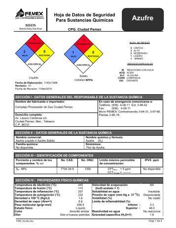 Hoja de seguridad azufre líquido - Pemex Gas y Petroquímica Básica