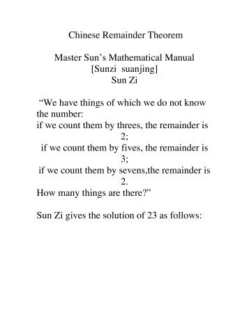 the history of the chinese remainder theorem How can the answer be improved.