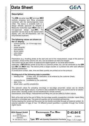 Electromagnetic Flow Meter IZM - GEA Diessel