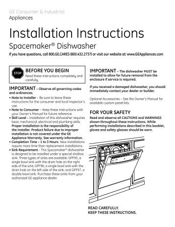 Installation Instructions Undercounter Dishwasher Instructions D