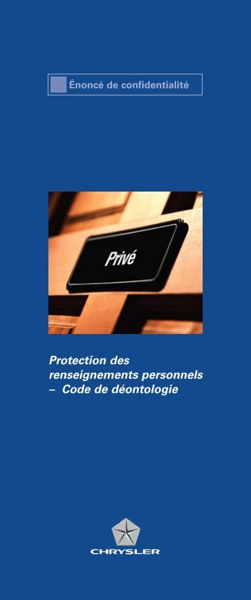 Protection des renseignements personnels ... - Chrysler Canada