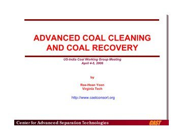 advanced coal cleaning and coal recovery - Office of Fossil Energy
