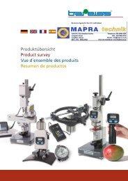 Produktübersicht Product survey Vue d´ensemble des ... - Mapra.co.uk