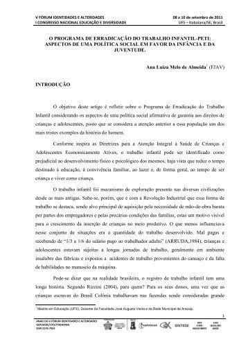 O PROGRAMA DE ERRADICAÇÃO DO TRABALHO INFANTIL-PETI ...