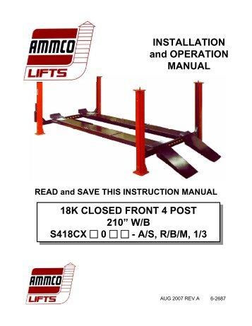 Ammco S418CX 18k Closed Front 4-Post - NY Tech Supply