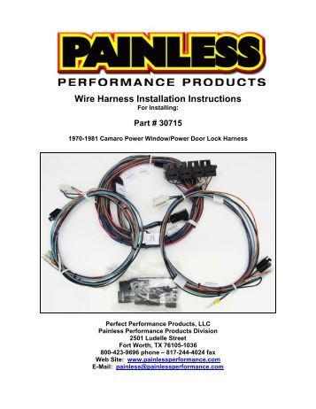 painless truck wiring power modules performance unlimited wire harness installation instructions painless performance